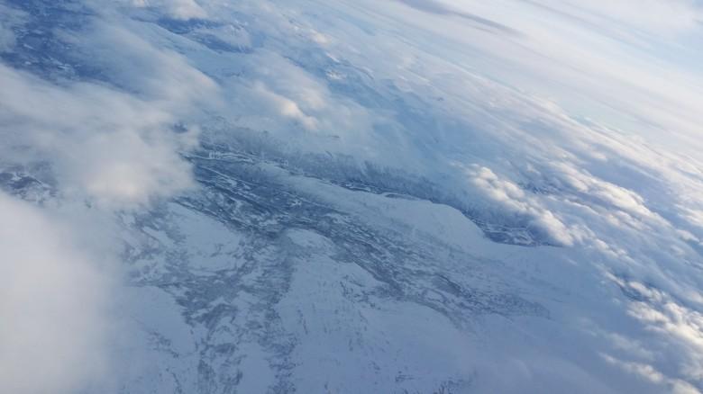 트롬쇠로 가는 기내에서 촬영한 사진. 북극에 진입한 실감이 난다.