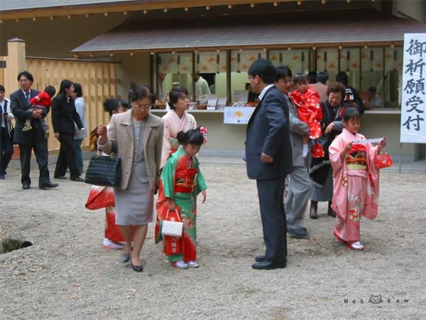 기모노 입은 아이들을 볼 수 있는 시치고산(七五三), 오사키하치만궁